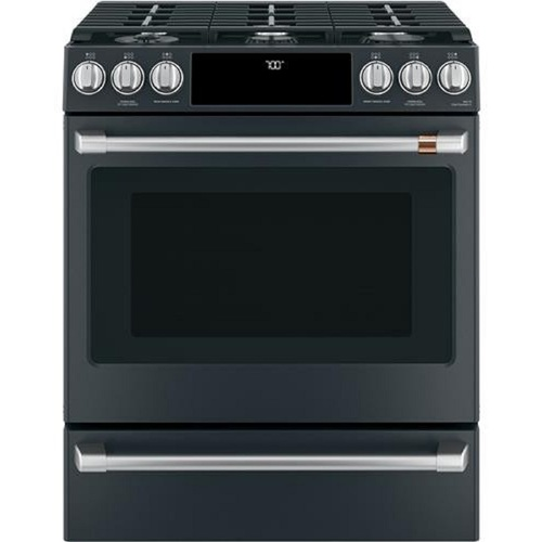 """GE Cafe CGS700P3MD1 30"""" Slide-In Gas Oven with Convection Range - Matte Black"""